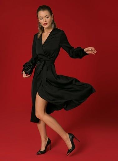Beymen Studio Beymen Studio Kruvaze V Yaka Siyah Elbise Siyah